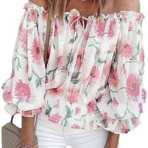 Floral Off The Shoulder Blouse Top white/pink L